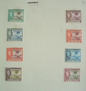 GAMBIA 1938 SG 150/155 nice mint MH set on album page - low start to sell. LOOK