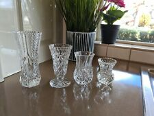 Bx17) Gorgeous  Bulk Lot of 4 Vintage Crystal Glass Vases - Mixed Designs - Vase