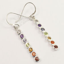 Healing Chakra 925 Sterling Silver Lovely Earrings Natural MULTI-COLOR Gemstones