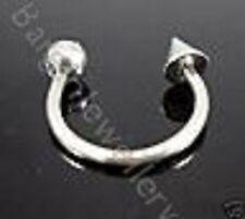 1 x 14g-10mm Steel Horseshoe with Spike & Ball  Eyebrow-Lip-Ear-Other Piercing