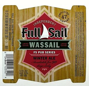"""Full Sail Brewing WASSAIL- WINTER ALE beer label OR 12oz """"trimmed"""" FS Pub Series"""