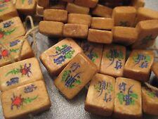Bone Mahjong Mini Tiles Dark Ancient Style Color Beads Side Drilled 10pcs