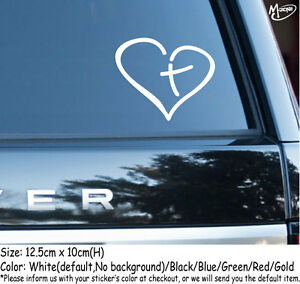 Heart with Cross in Center Religious Reflective Car Sticker  Decal Best Gifts