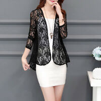 Ladies Women Sheer Open Front Cardigan Jacket Formal Suit Blazer Lace Short Coat