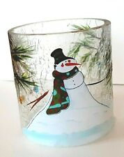 XMAS SNOWMAN HP CRACKLED GLASS CANDLE HOLDER TUMBLER NWT