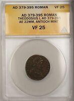 379-395 AD Roman Theodosius I Antioch Mint Bronze Ancient Coin AE ANACS VF 25