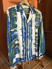 1950's Men's Guy Romo Silk Hawaiian Long Sleeve Shirt Size Large