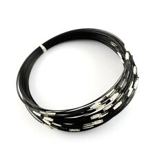 "10strds 17.5"" Stainless Steel Wire Necklace Bases Blank w/ Screw Clasp Black 1mm"