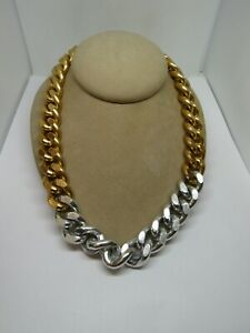 Gold Tone & Silver Tone Thick Chunky Link Chain Choker Necklace