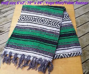 Mexican Falza Blanket Serape HalfSize Yoga Mat Table Runner 72x24 6x2 Falsa Thin
