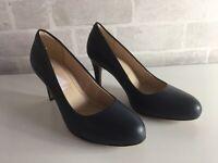 Ladies Clarks Carlita Clove Blue Shoes Size 4.5 Almond Toe Wide Fit Bn