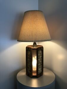 Vintage Mid Century Danish Tiki Modern Light up Base Lamp circa1970s M.J.W.