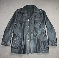 Vtg 80s Mens Black Soft Leather Motorcycle Biker Cafe Racer Jacket Coat Size M