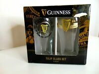 NEW Guinness Pint Glass 2 Pack Set 20oz Glasses With Official Embossed Harp Logo