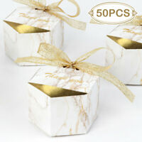 100× Wedding Party Favor Boxes Gold Marble Candy Box Chocolate Treat Gift Boxes