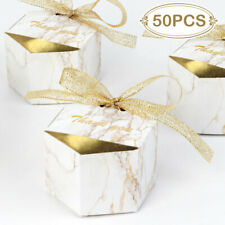 50× Wedding Party Favor Boxes Gold Marble Candy Box Chocolate Treat Gift Boxes
