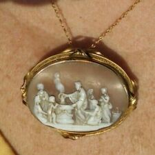 Antique Gold Plated Jesus Cameo Preparing to Wash Disciples Feet Before Passover