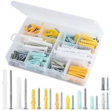 Plastic Self Drilling Drywall Ribbed Anchors Assortment with Screws Kit 200 Pcs