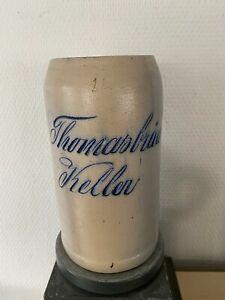 Sehr alter Bierkrug, Masskrug, geritzt, Thomasbräu Keller, München, RAR