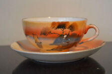 Orange tan brown Hand painted Cup and Saucer #B