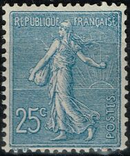 FRANCE N° 132 BLEU SEMEUSE NEUVE * GOMME AVEC CHARNIERE COTE 84 €