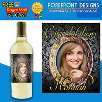 Personalised Photo Wine Bottle Congratulations Label, Perfect Birthday Gift