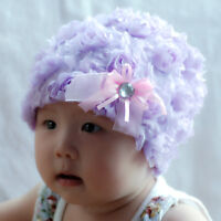 New Girls Fluffy Floral Fashion Hat in Pink, Lilac From 1-3 Years