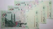 (PL) RM 5 BJ 3575023-25 UNC, 3 PCS MALAYSIA ZETI PAPER LAST PREFIX, RARE