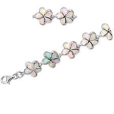 """LIMITED ITEMS! White Australian Opal Flower .925 Sterling Silver Bracelet 7.5"""""""