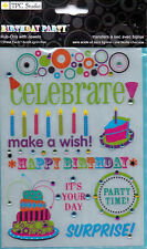 The Paper Company Studio BIRTHDAY PARTY  Rub-Ons with Jewels 9 designs on sheet