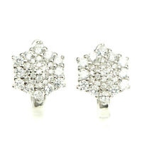 Gorgeous Round Cut 2mm Aaa White Cubic Zirconia 925 Sterling Silver Earrings