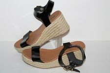 Qupid Wedge Sandals, Black Patent/Rope, Womens US Size 7.5