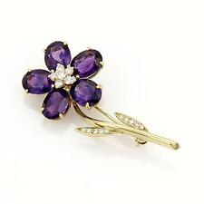Tiffany & Co. Diamond Amethyst Flower 18k Yellow Gold Pin Brooch