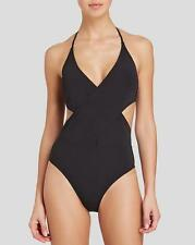 NWT NEW Tory Burch Black Solid Wrap One Piece Swimsuit $195 Large ma18