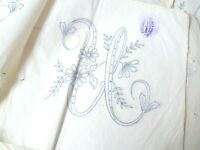 Vintage iron on embroidery transfer- large floral monogram letter U monogramme