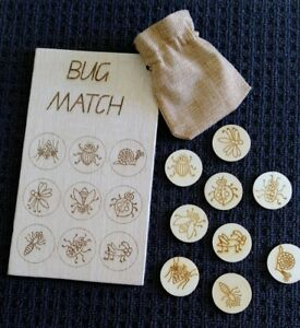 Bug insect wooden matching game natural