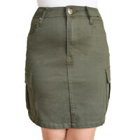 WAKEE KHAKI DENIM SKIRT WITH CARGO POCKETS. SIZE 6-16.
