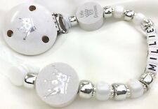 ♕ Personalised DUMMY CLIP Your Name Choice ♕ LITTLE PRINCESS ♕ WHITE & SILVER ♕