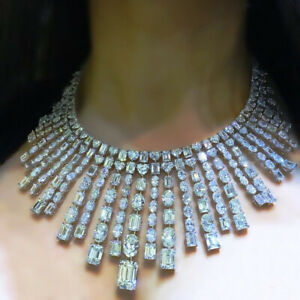 Solid 925 Sterling Silver Multi-shape Red Carpet Highend Party Diamond Necklace