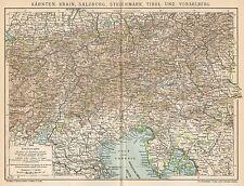 B6284 Karnten - Salzburg - Tirol - Carta geografica antica del 1902 - Old map