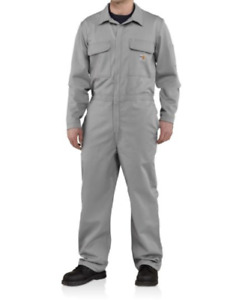 Carhartt Mens Flame-Resistant Traditional Twill Coverall Size 46 Grey