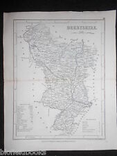 Antiquarian Map of Derbyshire c1850 inc Derby, Chesterfield, Bakewell (Dugdales)