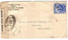 Barbados WW1 1915 Switzerland Military Censored Cover