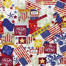 New listing Patriotic Fourth of July Icons Cream 100% Cotton Fabric by The Yard