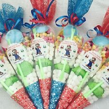 16 X Super Mario Themed Pre Filled Party Cones Personalised + Free Sweety Bag