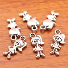 50Piece 15*7mm Charms girl Lovely Jewelry Bracelet Necklace Tibetan Silver 7076C