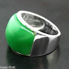 Fashion 925 Sterling Silver Natural Green Jade Gemstone Men's Ring Size 10