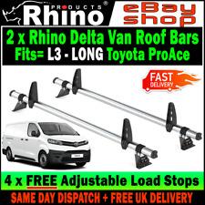 L3 LONG H1  2 x Rhino Delta Bar Van Roof Rack Bars Toyota ProAce 2016-2019