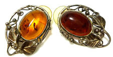 ANTIQUE OLD BALTIC AMBER STERLING SILVER OVAL LEAF FLOWER SHIELD EARRINGS