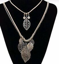Multi Layer Leaf Necklace Vintage style silver tone suede like double strand